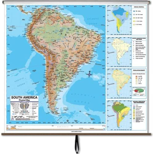 Amazon Com South America Advanced Physical Classroom Map On Roller W Brackets Wall Maps Office Products