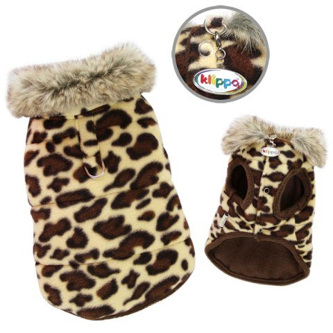 Adorable Padded Leopard Print Dog Vest with Fur Collar Size: Small