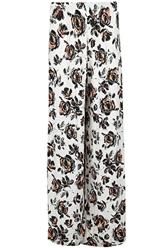 Be Jealous Floral femmes rayures imprimé Palazzo Jambe Large pantalon évasé jambe large en vrac bouffant Leggings pantalon - fleur orange blanc, Plus Size (UK 24/26)