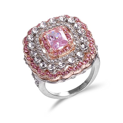 ManxiVoo Women Crystal Cubic Zirconia Band Ring Jewelry Gift Engagement Wedding Party Band Rings (Pink, 10)
