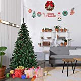Goplus 5FT Artificial Christmas Tree Premium Spruce Hinged Snow Tipped Tree with Pine Cones & Solid Metal Stand for Outdoor & Indoor
