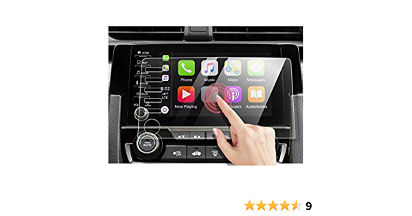 Screen Protector Compatible with Civic 2019-2021//Honda Satellite-Linked Navigation System ,YJYU Tempered Glass Screen Protector//Scratch Resistant//Bubble Free 5 Buttons