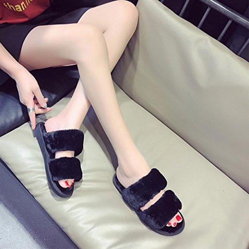 Tenworld Womens Flip Flop Faux Fur Soft House Slippers Flat Slide Sandal Black XHhHy