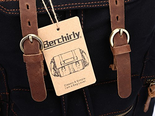 ff1e735f93 Berchirly Vintage Men Casual Canvas Leather Backpack Rucksack Travel ...