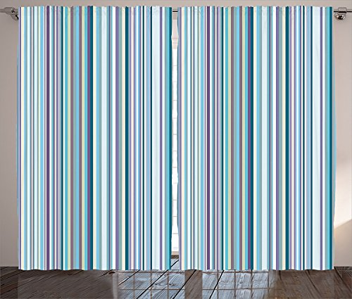 Striped Curtains 2 Panel Set Blue Purple Teal Aqua Lavender Colored Vertical Stripes Geometric Abstract Vintage Living Room Bedroom Decor Light Blue