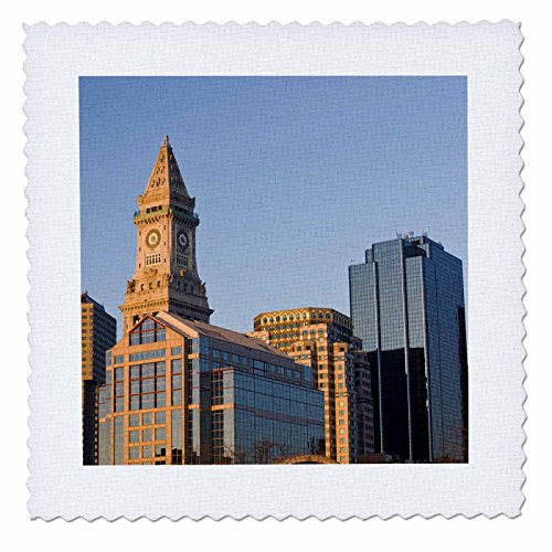 Bostons Custom House - 3dRose Danita Delimont - Boston - USA, Massachusetts, Boston. Customs House, dawn - US22 WBI0561 - Walter Bibikow - 10x10 inch quilt square (qs_91011_1)
