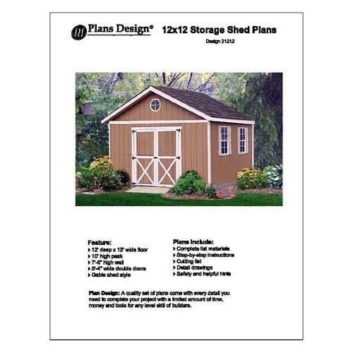 12u0027 X 12u0027 Gable Storage Shed Project Plans  Design #21212   Woodworking  Project Plans   Amazon.com