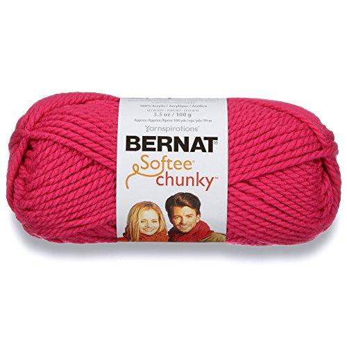 Super Soft Bulky Yarn - Bernat Softee Chunky Yarn, 3.5 Oz, Gauge 6 Super Bulky, Hot Pink