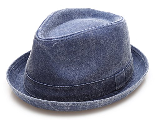 Men's Denim Washed Cotton Casual Vintage Style Fedora Sun Hat (Denim,LXL)