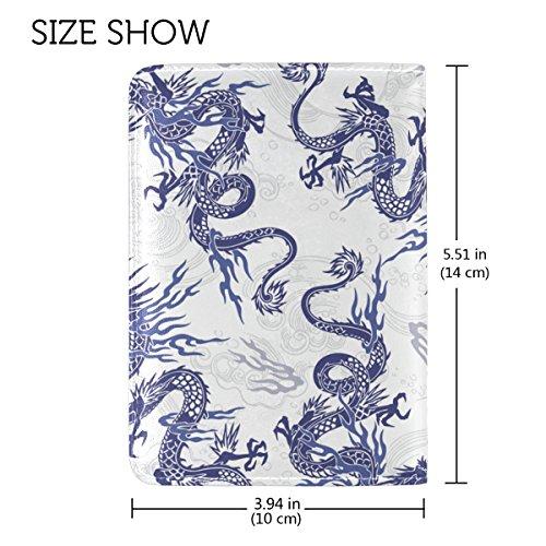 Coosun Japanischen Drachen Muster Leder Passhülle Cover für Travel One Pocket