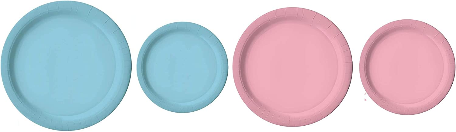 100 Count Light Blue and Light Pink Paper Plates | 50 ~ 9