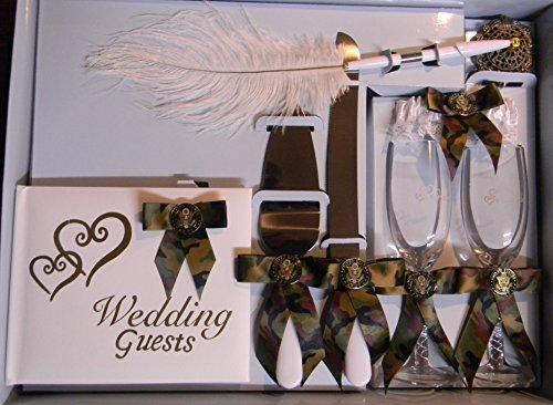 Wedding Camo Military Army Guest Book Pen Glasses Server Knife 8 psc