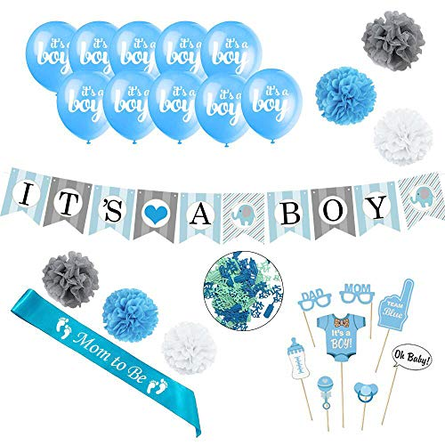 FuNZinia Baby Shower Decorations Set for Boy - Set Includes It's A Boy Banner, 10 Balloons, 8 Photo Props, Sash, 6 Pom Poms, and Confetti -