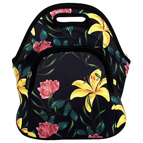 Violet Mist Neoprene Lunch Bag Tote Large Washable Insulated Waterproof Lunch Box Handbag with Extra Pocket for Women Men Adults Teens Kids (Tropical Flower 2)