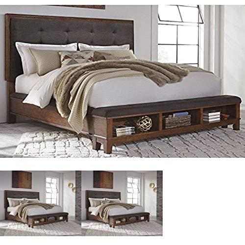 Ashley Furniture Signature Design – Ralene Master Bedroom Upholstered Panel Bedset with Storage – King Size – Medium…