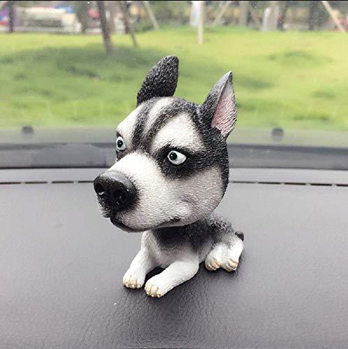 (11CM Siberian Husky Dog Bobbing Head Nodding Dog Interior Ornaments Funny Cartoon Puppy Shaking Head Figure Mini Bobble-Head Toys for Car Decoration)