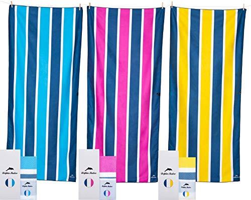 - Dolphin Shadow Microfiber Beach Towel: XXL (200x90cm, 78x35) Lightweight Sand Free Beach Towel in Designer Carry Pouch & Gift Box & Fast-Drying, Pool, Bath, Sports & Camping & Yoga (Pink Wind)