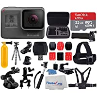 GoPro HERO5 Black Sports Action Video Camera - Waterproof to 33, Wi-Fi, Bluetooth & GPS + SanDisk Ultra 32GB Card + Extendable Monopod + Flexible Tripod + Chest & Head Strap + Jaw Clamp + Accessories
