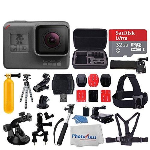 GoPro HERO5 Black Sports Action Video Camera - Waterproof to 33', Wi-Fi, Bluetooth & GPS + SanDisk Ultra 32GB Card + Extendable Monopod + Flexible Tripod + Chest & Head Strap + Jaw Clamp + Accessories by PHOTO4LESS