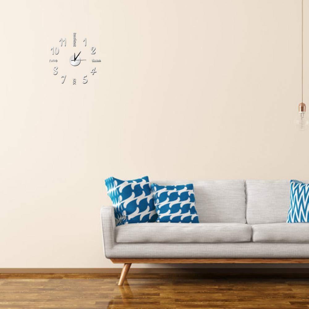 Orologio da Parete 3D Adesivi Murali Impermeabile DIY Orologio a Muro Silenzioso Fai da Te Moderno Digitale Orologio Decorativo per Casa Ufficio 50cm Nero