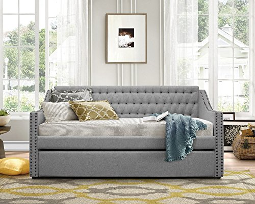 Homelegance 4966 Sleigh Trundle, Twin, Gray Fabric Daybed