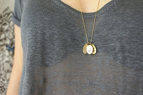 - Initial Necklace Custom hand stamped Personalized Jewelry Monogrammed Pendant Bridesmaid Jewelry Oval Brass Bar necklace Personalized gift