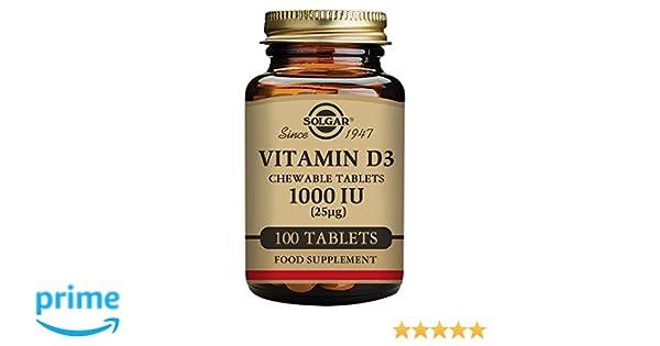 Solgar Vitamina D3 1000 UI (25 µg) Comprimidos masticables - Envase de 100: Amazon.es: Salud y cuidado personal