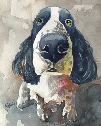 Springer Spaniel Dog Fine Art Print on 100% Cotton Watercolor Paper