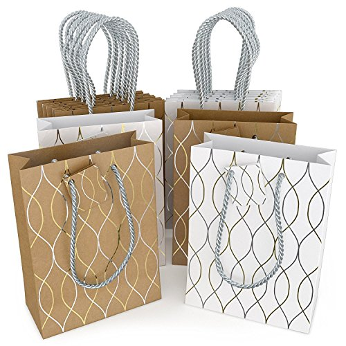 Glogex Gift Bags, Kraft Paper Gifts Bag for Birthday, Weddings Presents (Set of 14 bags, 2 wave designs)