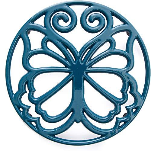 The Pioneer Woman Timeless Beauty Butterfly 8 Inch Cast Iron Enamel Trivet by The Pioneer Woman (Blue) ()