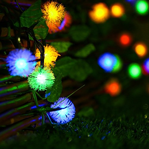 Easydecor Solar String Lights 23ft 50 Led 8 Modes Chuzzle Ball Fairy Christmas String Lights For Outdoor Indoor Party Wedding Holiday Patio Lawn Garden