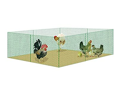 "V Proteck Mesh Galvanized Fence Wire Poultry Netting Gutter Guards Chicken Run Rabbit Fencing to Keep Out Racoons Gophor Snakes Green W39.5"" xL16Ft With Post"