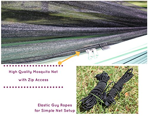 GoRoam Outdoors Camping Hammock with Mosquito Net & XL 10ft Loop Tree Straps Plus Carabiners. Premium Quality Lightweight & Durable 210T Nylon - Perfect for Bug Free Hiking, Backpacking & Travel