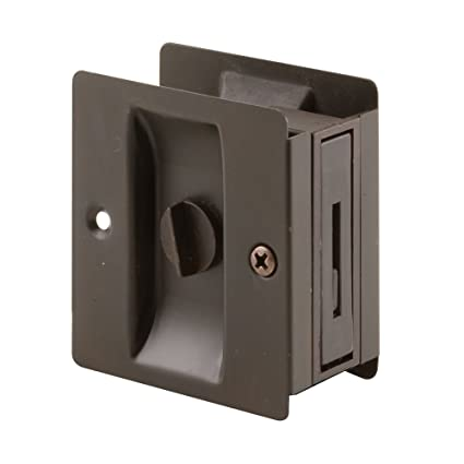 Prime Line Products N 7319 Pocket Door Privacy Lock With Pull, Classic  Bronze