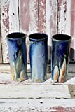 One Unique Blue to Gold Ceramic Pint Glass, Batch #13, Tall Pottery Glasses, Finely Crafted Cocktail Cups, Handmade Cups