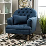 Kimberly | Fabric Button-Tufted Club Chair | in Dark Blue