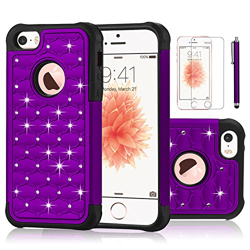 iPhone SE Case,EC™ Studded Rhinestone Crystal Bling Case, Hybrid Armor Dual Layer Diamond Shockproof Protective Cover for Apple iPhone 5/ 5S/SE (Purple)