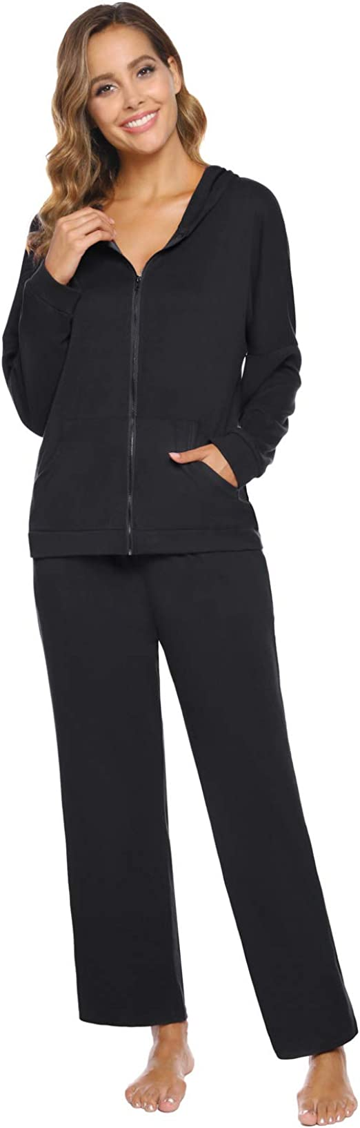 Zexxxy Mens Casual 2 Piece Outfits Full-Zip Hoodie and Sweatpants Jogging Suit