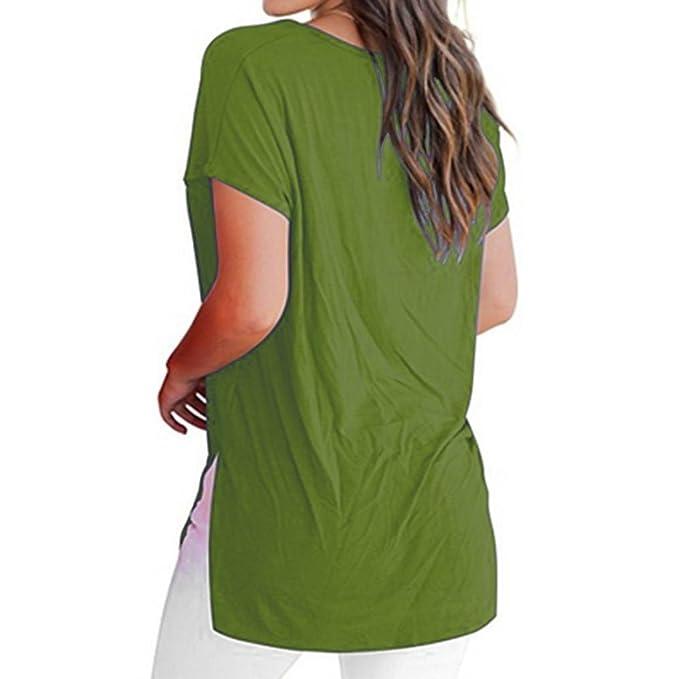 Yeamile💋💝 Camiseta de Mujer Tops Negro Blusa Causal Ocasionales Camiseta Manga Corta para Mujer Tops Básica Blusa Llano Casual (Verde, XL): Amazon.es: ...