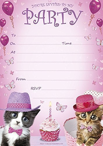 BIrthday Party Invitations A5 Size Pink Kittens Cupcakes