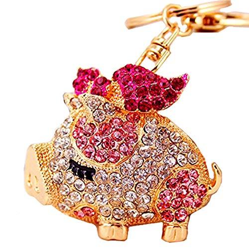 Reizteko Gold-Toned Crystal Rhinestone Pig Keychain Pendant Keychain Charms Gift (Pink) -