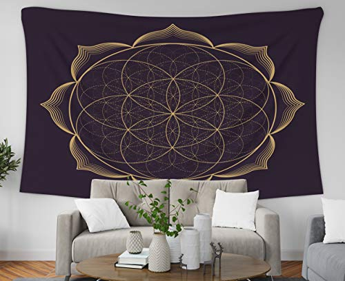 Asdecmoly Easter Tapestry Printing Wall Hanging Tapestries for Living Room and Bedroom 80 L x60 W Inches Gold Monochrome Abstract Mandala Sacred Geometry Seed Flower Life Lotus Art Printing Inhouse