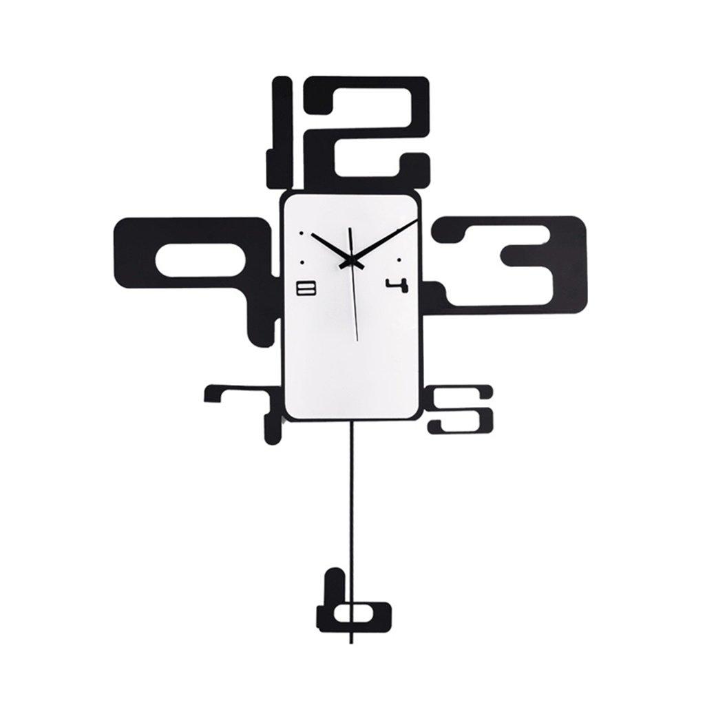 YFF-壁時計 モダンミニマリストクリエイティブアイアンウォールクロック大人のファッションパーソナリティアラビア数字壁掛け時計リビングルームベッドルームスタディーレストランバーカフェ B07CR1KKHY