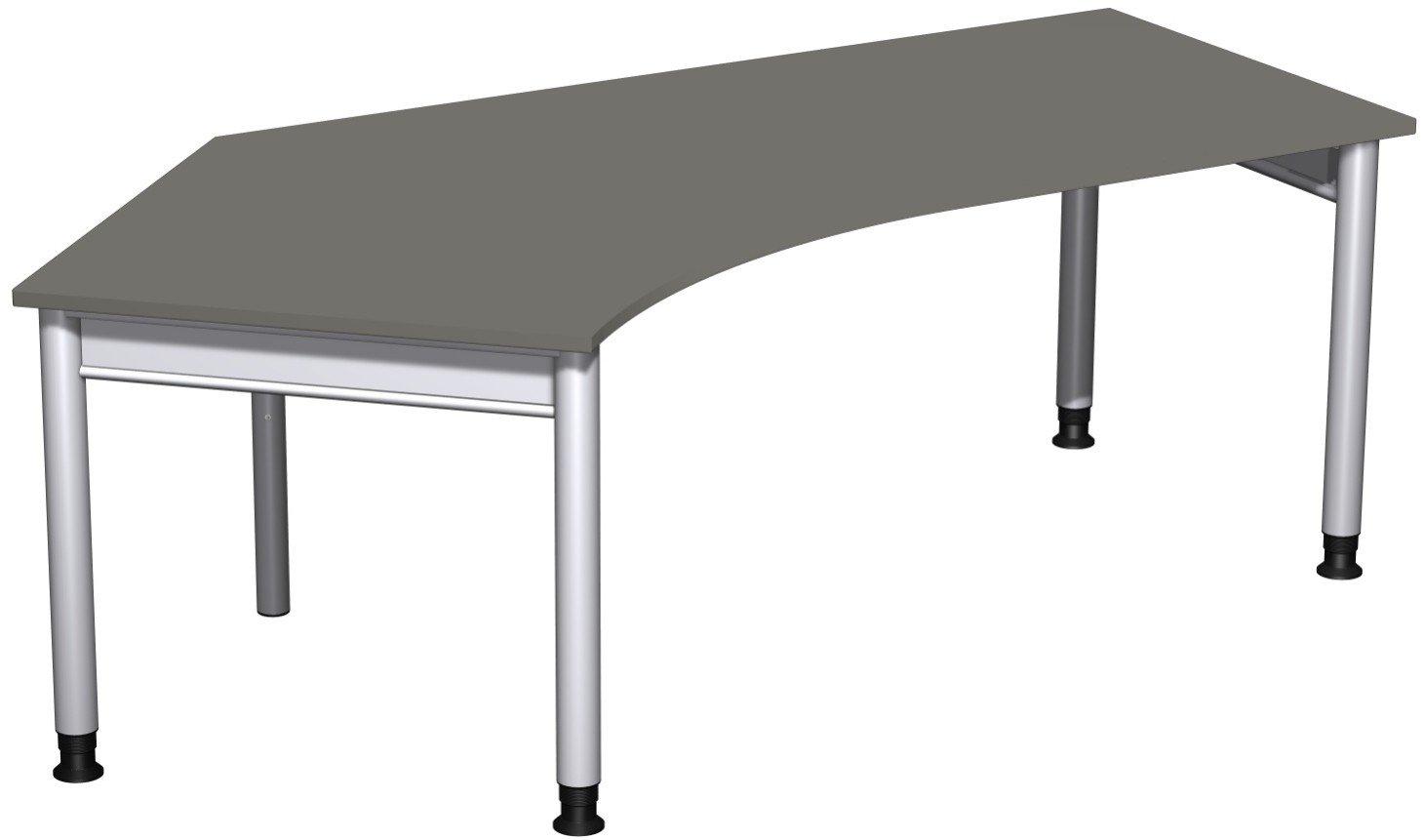 Geramöbel Schreibtisch 135° links höhenverstellbar, 2166x1130x680-820, Graphit/Silber