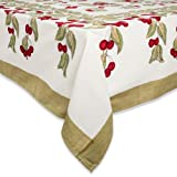Couleur Nature Cherry Red/Green Tablecloth, 90x90