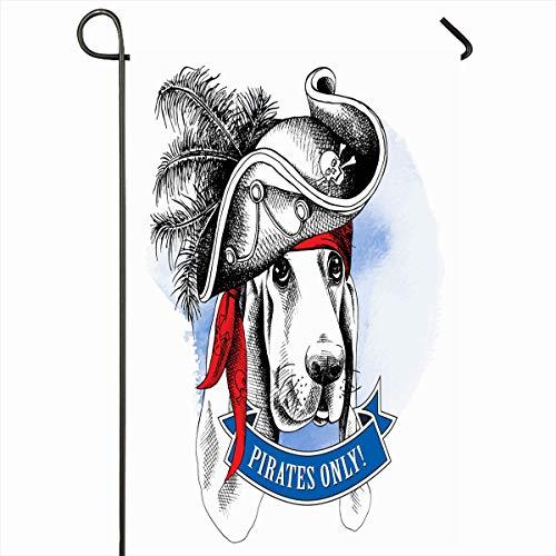 Ahawoso Garden Flag 12x18 Inches Captain Bandana Dog Basset Hound Wearing Cool Pirate Black Bone...