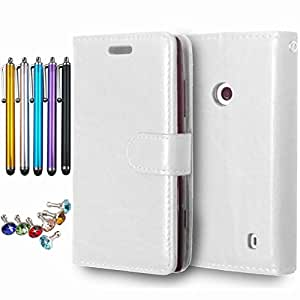 LEMORRY Microsoft Lumia 520 Case, Unique Soft TPU Core + PU Leather Wallet [Card Slots] & [Picture Frame] Flip Flap Stand Magnetic Cover Protective Bumper Pouch White