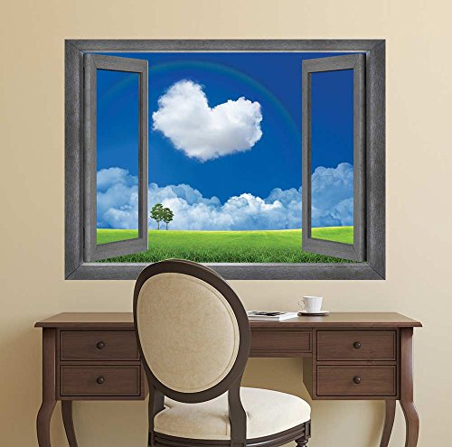Open Window Creative Wall Decor Love is in the Clouds Wall Mural