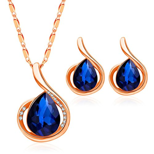 Price comparison product image Gyoume Women Girls Necklace Earrings Set Gold Sliver Necklace Blue Crystal Ear Studs Earrings Necklace (A