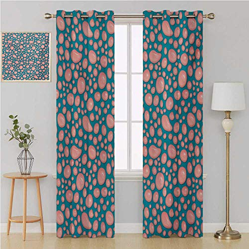 Pale Pink grommit Curtain Decor Curtains ByDrops and Round Splash of Bubble Gum on Blue Background in Cartoon Stylewindow 96 by 108 InchPetrol Blue -